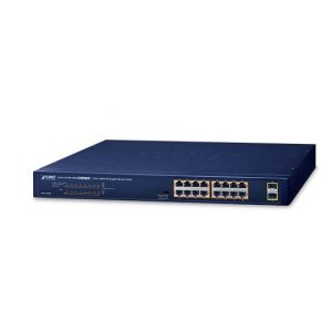 Switch Gigabit 16 Port PoE+ Uplink 2 SFP PLANET GSW-1820HP